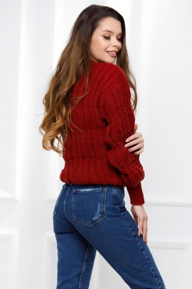 Pulover Claudia bordo din tricot cu torsade