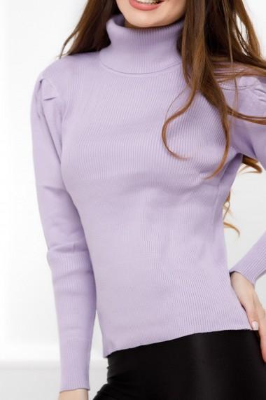 Pulover Cezara lila din tricot cu aspect reiat si guler inalt