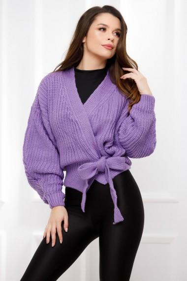 Pulover Bucura lavanda din tricot cu funda