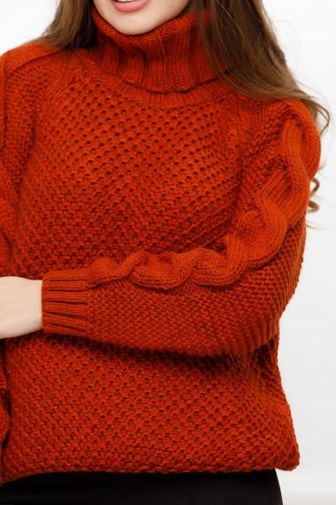 Pulover Alina caramiziu din tricot cu guler inalt