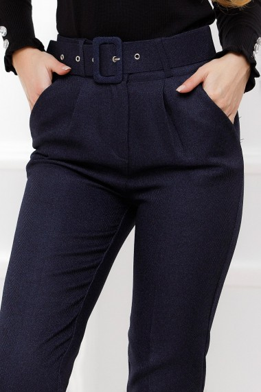 Pantaloni Viviana bleumarin din stofa