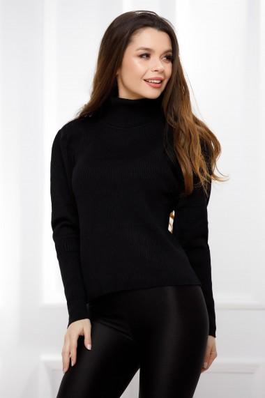 Pulover Cezara negru din tricot cu aspect reiat si guler inalt