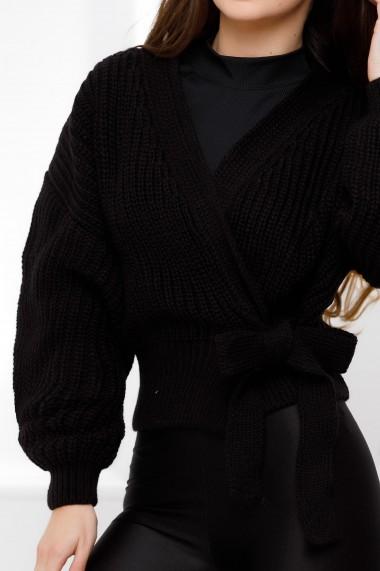Pulover Bucura negru din tricot cu funda