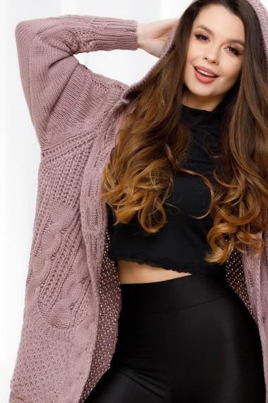 Jacheta maxi Briana roz-prafuit din tricot cu torsade si gluga