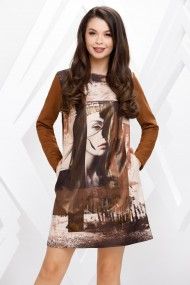 Rochie de zi midi Ejolie maro cu efect de piele intoarsa si imprimeu fashion