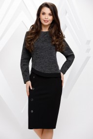 Rochie Margaret neagra din stofa cu bluza din tricot