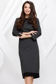 Rochie de zi midi Ejolie gri inchis cu detalii negre