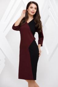 Rochie de zi midi Ejolie bordo cu negru cu accesoriu pe talie