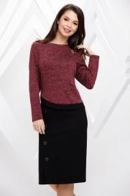 Rochie Margaret neagra din stofa cu bluza bordo din tricot