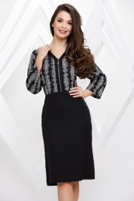 Rochie Jade neagra cu bluza cu imprimeu alb si fermoar