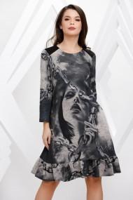 Rochie Casandra gri din tricot cu imprimeu si volan