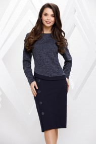 Rochie Margaret bleumarin din stofa cu bluza din tricot