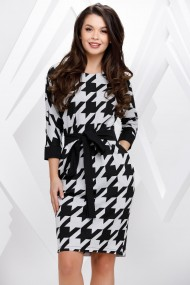 Rochie Zhin gri cu imprimeu negru si cordon