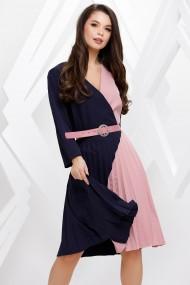 Rochie Amanda bleumarin cu roz cu fusta plisata
