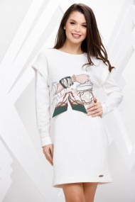 Rochie Melany alba cu imprimeu fashion