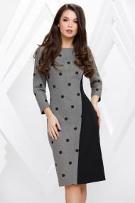 Rochie Michelle din stofa gri cu negru si buline