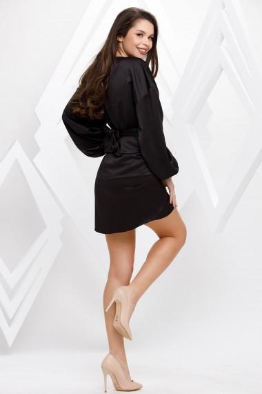 Rochie de seara mini Ejolie neagra cu maneci bufante