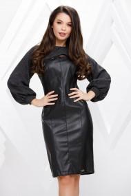 Rochie de zi midi Ejolie neagra cu aspect de piele si maneci din tricot