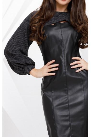 Rochie Despina neagra cu aspect de piele si maneci din tricot