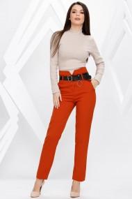 Pantaloni Leia portocalii cu centura neagra