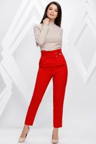 Pantaloni Ellen rosii cu accesorii pe talie
