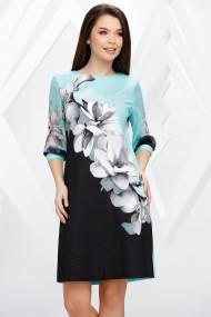 Rochie Silvie neagra cu turcoaz si imprimeu floral