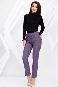 Pantaloni Viviana mov cu imprimeu pepit