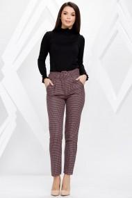 Pantaloni Viviana roz cu imprimeu pepit