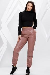 Pantaloni Brenda roz cu efect de piele