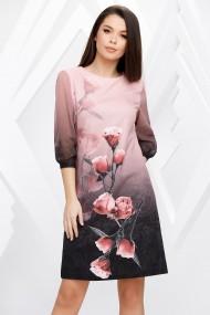Rochie Kalista roz cu trandafiri imprimati