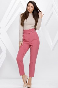 Pantaloni Ellen roz cu accesorii pe talie