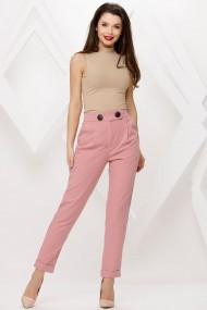 Pantaloni Nyla roz cu nasturi decorativi