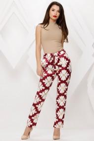Pantaloni Mercy bordo cu flori albe