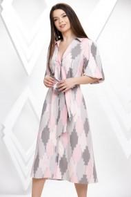 Rochie Paloma cu imprimeu roz si gri cu maneci bufante si cordon maxi