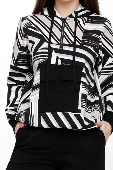 Compleu Alana negru din bumbac cu bluza imprimata