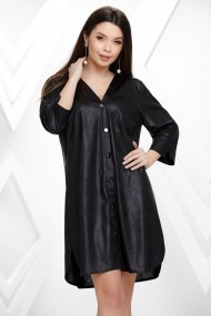 Rochie de zi mini Ejolie neagra tip camasa