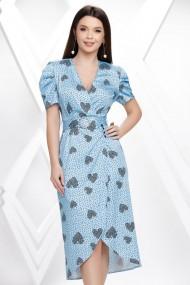 Rochie de zi midi Ejolie bleu din satin cu aspect petrecut