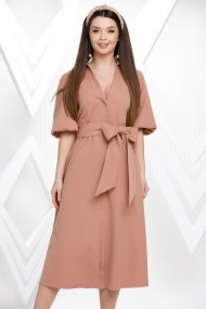 Rochie Paloma crem-roze cu maneci bufante si cordon maxi