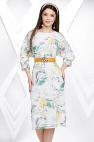 Rochie de zi midi Ejolie alba din panza cu imprimeu floral galben