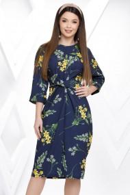 Rochie Lenox bleumarin cu imprimeu floral galben