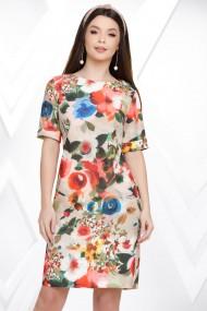 Rochie Jane crem cu imprimeu floral multicolor
