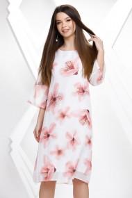 Rochie Octavia alba cu imprimeu floral roz si strasuri