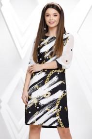 Rochie de zi midi Ejolie neagra cu imprimeu alb si lanturi