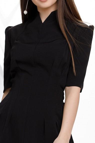Rochie de zi midi Ejolie neagra din stofa cu cordon maxi