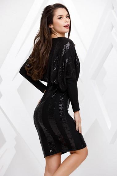 Rochie de seara midi Ejolie neagra cu paiete