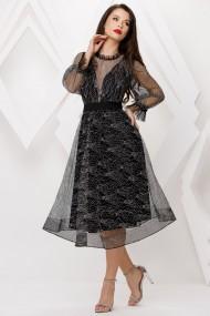 Rochie Delia neagra din dantela cu fir lame argintiu