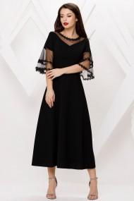 Rochie de zi lunga Ejolie neagra cu maneci evazate din tull cu dantela