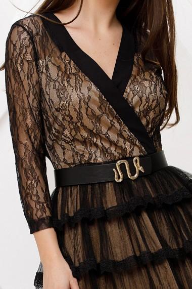 Rochie de seara midi Ejolie neagra din dantela cu volane si jupon crem