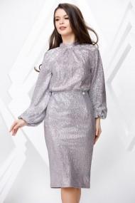 Rochie de seara midi Ejolie argintie cu maneci bufante