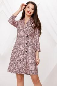 Rochie de zi midi Ejolie roz tip sacou cu imprimeu negru